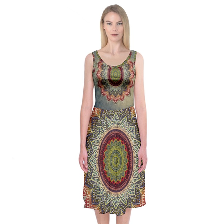 Folk Art Lotus Mandala Dirty Blue Red Midi Sleeveless Dress