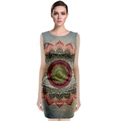 Folk Art Lotus Mandala Dirty Blue Red Classic Sleeveless Midi Dress