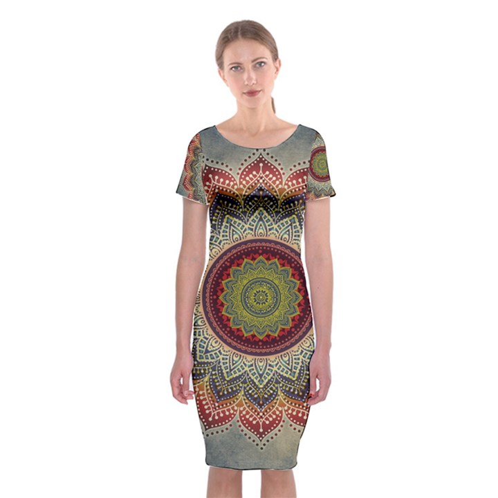 Folk Art Lotus Mandala Dirty Blue Red Classic Short Sleeve Midi Dress