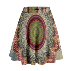 Folk Art Lotus Mandala Dirty Blue Red High Waist Skirt