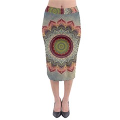 Folk Art Lotus Mandala Dirty Blue Red Midi Pencil Skirt