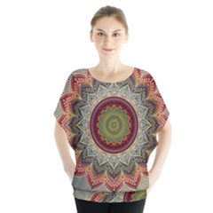 Folk Art Lotus Mandala Dirty Blue Red Blouse