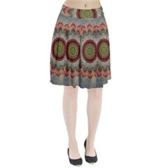 Folk Art Lotus Mandala Dirty Blue Red Pleated Skirt