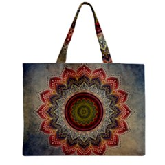 Folk Art Lotus Mandala Dirty Blue Red Medium Zipper Tote Bag