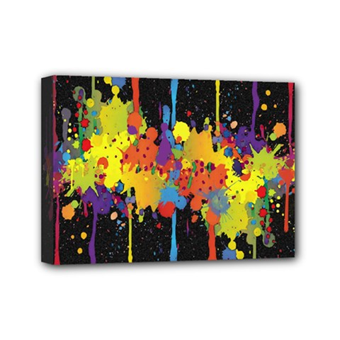 Crazy Multicolored Double Running Splashes Horizon Mini Canvas 7  X 5