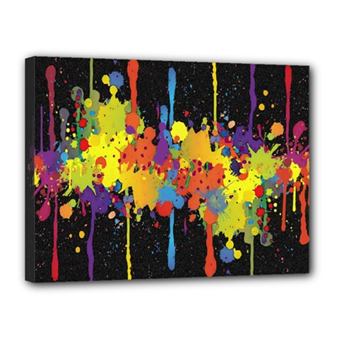Crazy Multicolored Double Running Splashes Horizon Canvas 16  X 12  by EDDArt