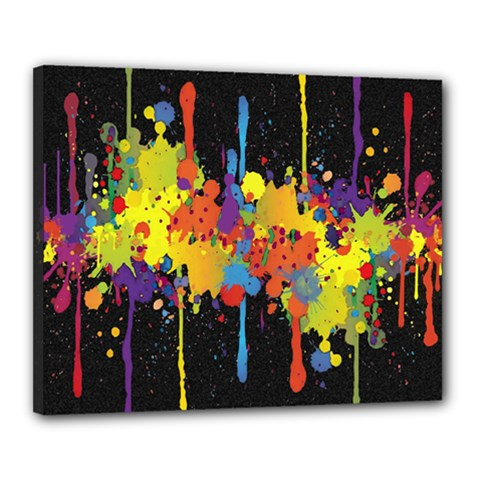 Crazy Multicolored Double Running Splashes Horizon Canvas 20  X 16