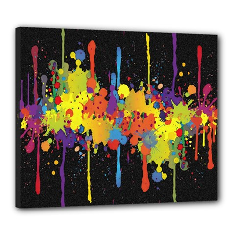 Crazy Multicolored Double Running Splashes Horizon Canvas 24  X 20  by EDDArt