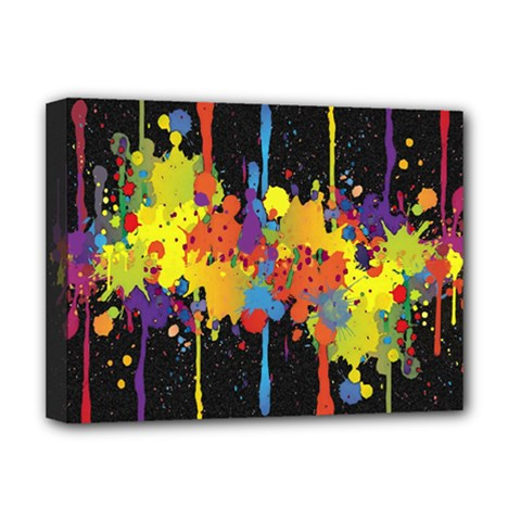 Crazy Multicolored Double Running Splashes Horizon Deluxe Canvas 16  X 12   by EDDArt