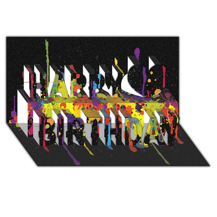Crazy Multicolored Double Running Splashes Horizon Happy Birthday 3D Greeting Card (8x4)