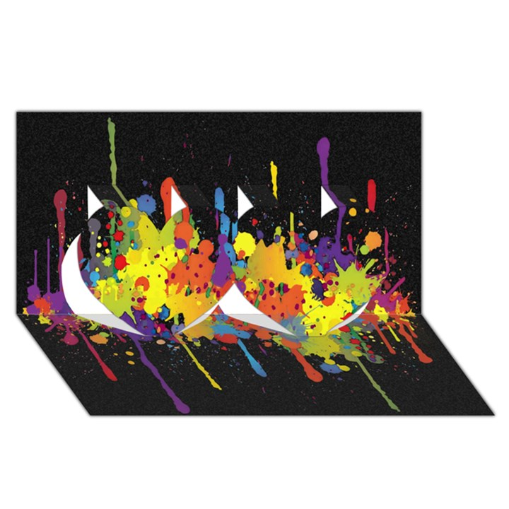 Crazy Multicolored Double Running Splashes Horizon Twin Hearts 3D Greeting Card (8x4)