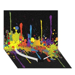 Crazy Multicolored Double Running Splashes Horizon Heart Bottom 3d Greeting Card (7x5) by EDDArt