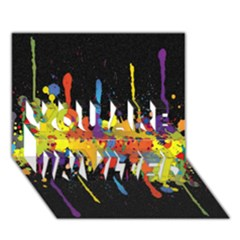 Crazy Multicolored Double Running Splashes Horizon You Are Invited 3d Greeting Card (7x5) by EDDArt