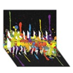 Crazy Multicolored Double Running Splashes Horizon YOU ARE INVITED 3D Greeting Card (7x5)