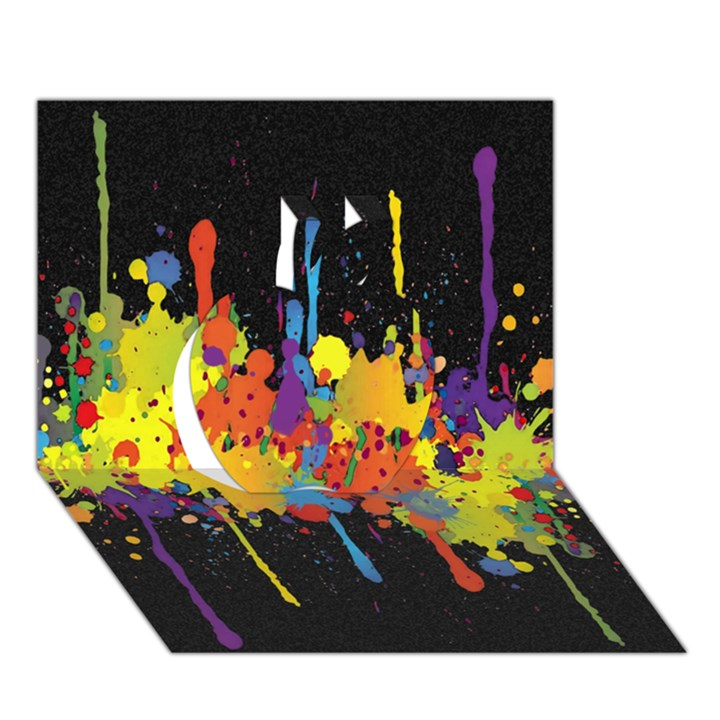 Crazy Multicolored Double Running Splashes Horizon Apple 3D Greeting Card (7x5)
