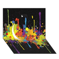 Crazy Multicolored Double Running Splashes Horizon Circle 3d Greeting Card (7x5)