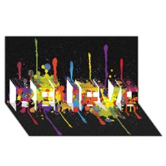Crazy Multicolored Double Running Splashes Horizon Believe 3d Greeting Card (8x4) by EDDArt