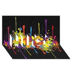 Crazy Multicolored Double Running Splashes Horizon Hugs 3d Greeting Card (8x4) by EDDArt