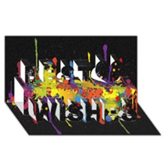 Crazy Multicolored Double Running Splashes Horizon Best Wish 3d Greeting Card (8x4)