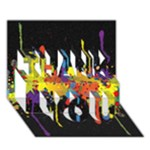 Crazy Multicolored Double Running Splashes Horizon THANK YOU 3D Greeting Card (7x5)