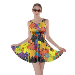 Crazy Multicolored Double Running Splashes Horizon Skater Dress by EDDArt