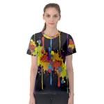 Crazy Multicolored Double Running Splashes Horizon Women s Sport Mesh Tee
