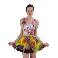 Crazy Multicolored Double Running Splashes Horizon Mini Skirt by EDDArt