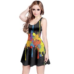 Crazy Multicolored Double Running Splashes Horizon Reversible Sleeveless Dress by EDDArt