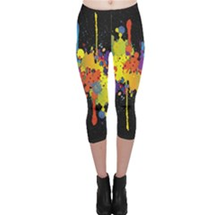 Crazy Multicolored Double Running Splashes Horizon Capri Leggings  by EDDArt