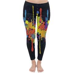 Crazy Multicolored Double Running Splashes Horizon Winter Leggings