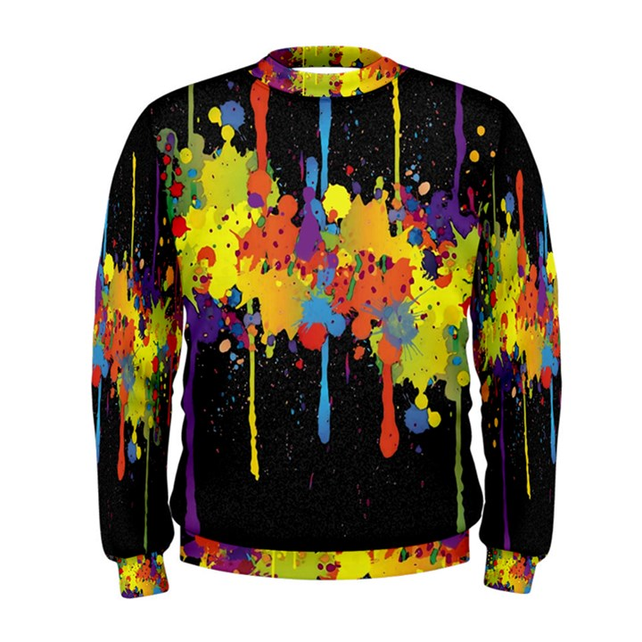 Crazy Multicolored Double Running Splashes Horizon Men s Sweatshirt