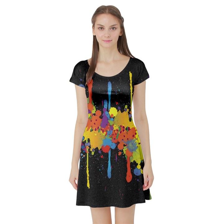 Crazy Multicolored Double Running Splashes Horizon Short Sleeve Skater Dress
