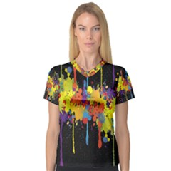 Crazy Multicolored Double Running Splashes Horizon Women s V Neck Sport Mesh Tee by EDDArt