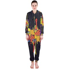 Crazy Multicolored Double Running Splashes Horizon Hooded Jumpsuit (ladies)