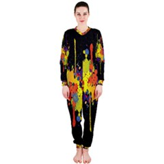 Crazy Multicolored Double Running Splashes Horizon Onepiece Jumpsuit (ladies)
