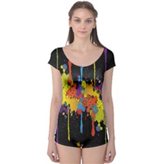 Crazy Multicolored Double Running Splashes Horizon Boyleg Leotard