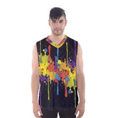 Crazy Multicolored Double Running Splashes Horizon Men s Basketball Tank Top by EDDArt