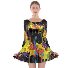 Crazy Multicolored Double Running Splashes Horizon Long Sleeve Skater Dress by EDDArt
