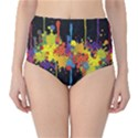 Crazy Multicolored Double Running Splashes Horizon High-Waist Bikini Bottoms View1