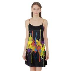 Crazy Multicolored Double Running Splashes Horizon Satin Night Slip by EDDArt
