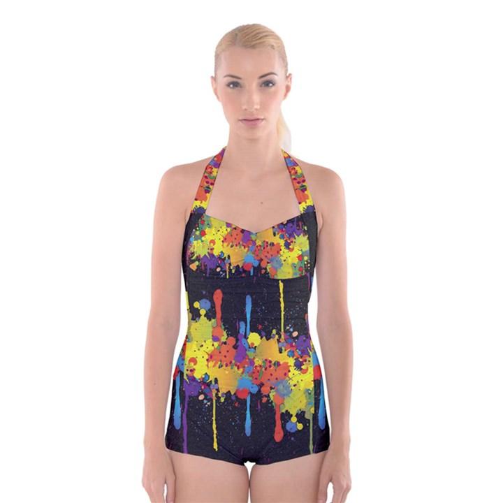 Crazy Multicolored Double Running Splashes Horizon Boyleg Halter Swimsuit