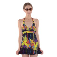 Crazy Multicolored Double Running Splashes Horizon Halter Swimsuit Dress