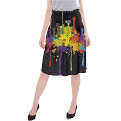 Crazy Multicolored Double Running Splashes Horizon Midi Beach Skirt