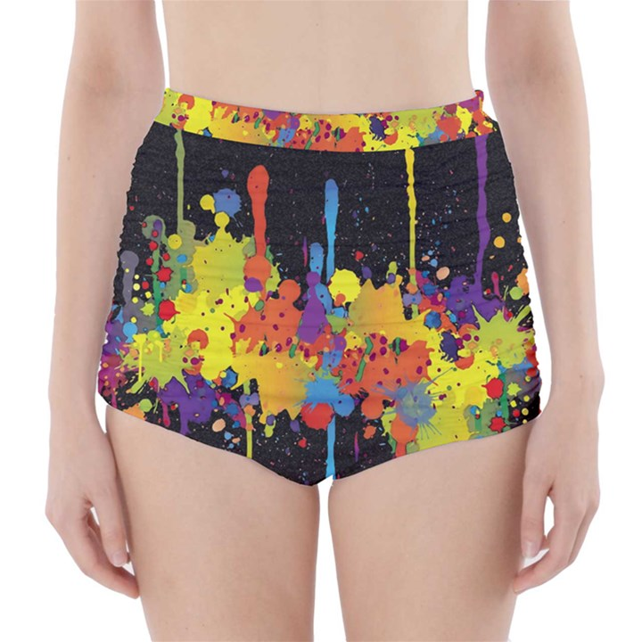 Crazy Multicolored Double Running Splashes Horizon High-Waisted Bikini Bottoms