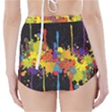 Crazy Multicolored Double Running Splashes Horizon High-Waisted Bikini Bottoms View2