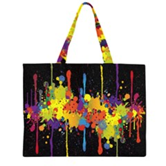 Crazy Multicolored Double Running Splashes Horizon Zipper Large Tote Bag by EDDArt