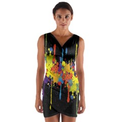 Crazy Multicolored Double Running Splashes Horizon Wrap Front Bodycon Dress