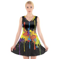 Crazy Multicolored Double Running Splashes Horizon V Neck Sleeveless Skater Dress