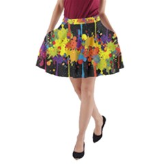 Crazy Multicolored Double Running Splashes Horizon A Line Pocket Skirt