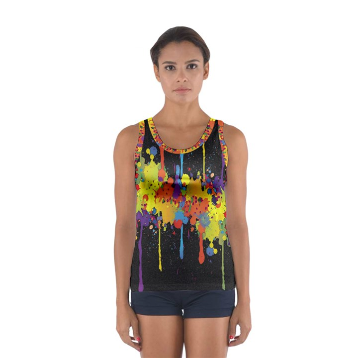 Crazy Multicolored Double Running Splashes Horizon Women s Sport Tank Top